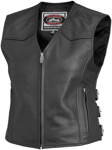 River Road Women's Plains Leather Vest (XXX-LARGE) (BLACK)