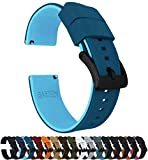Barton Elite Silicone Watch Bands - Black Buckle Quick Release - Choose Strap Color & Width - Two Tone Blue (Flatwater) 22mm