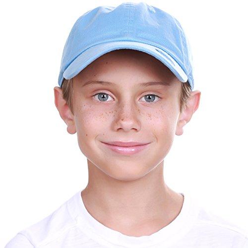 Blue Sky Cotton Visor - KBC-13LOW Sky (6-9) Kids Boys Girls Hats Washed Low Profile Cotton and Denim Plain Baseball Cap Hat Unisex Headwear