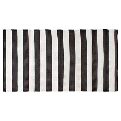 DII CAMZ11275 Stripe Outdoor Floor Runner, 3x6', Black & White (White Plastic Recycled Patio Furniture)