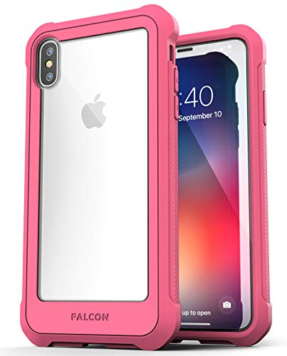 iPhone Xs MAX Case Pink Clear Back w/Tempered Glass Screen Protector - Encased Falcon Armor Ultra Rugged Transparent Back Cover (Full Body Bumper Cover) (Rose Pink)