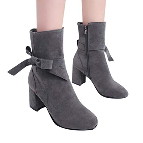 Clog Bow (vermers Clearance Sale Women Platform High Heels Bow Zipper Shoes - Women Fashion Short Ankle Boot Casual Footwear(US:6, Gray))