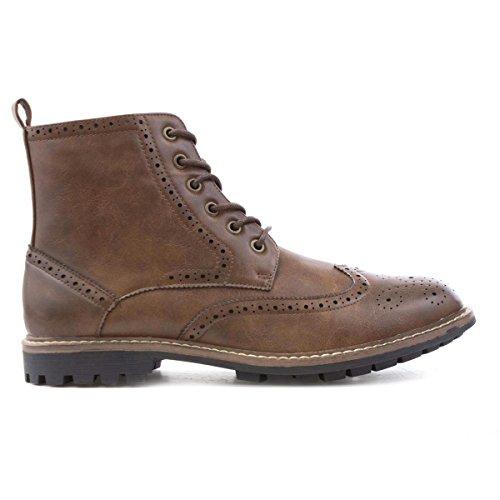 Beckett Mens Marrone Lace Up Brogue Boot Marrone