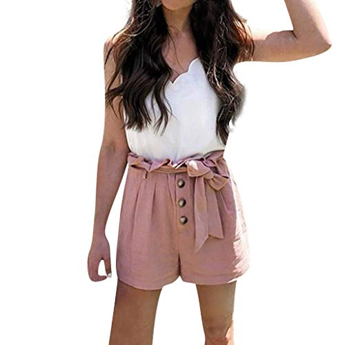 TOPUNDER Shorts for Women Summer Bow Tie Button Short Pant Solid High Waist Loose Casual Beach Pants Pink ()