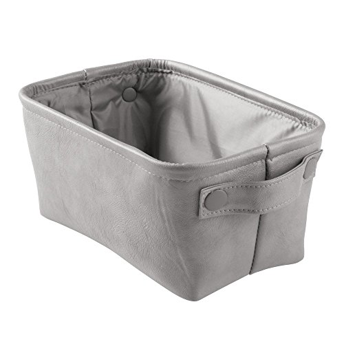InterDesign Lauren Bathroom Storage Bin for Towels, Shampoo, Cosmetics - Small, Vegan Leather, Gray