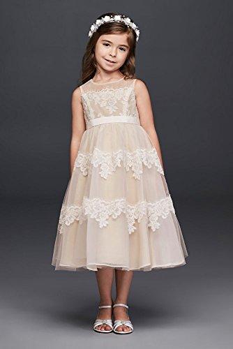 Banded Lace Illusion Flower Girl/Communion Dress Style WG1374, Ivory, 10+