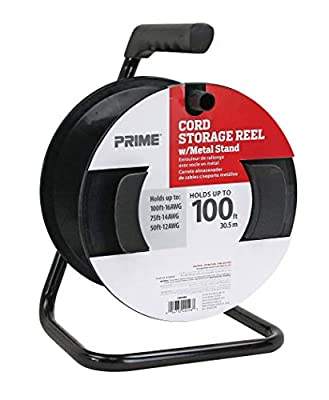 Prime CR003000 Portable Cord Reel with Metal Stand, Black, Holds 100-Ft of Cord