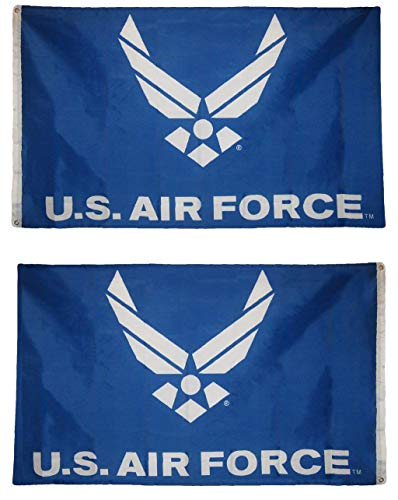 (3x5 USAF U.S. Air Force Wings Blue with White Wings 3'x5' Double Sided Polyester Flag Banner)