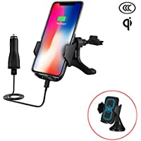 Wireless Charger Car Mount - mobile phone holder fast charger for Samsung Galaxy S8, S8 Plus, S7 ,S7 Edge ,S6 Edge, Note 8, QI Charger for iPhone X , Iphone 8 ,Iphone 8 Plus