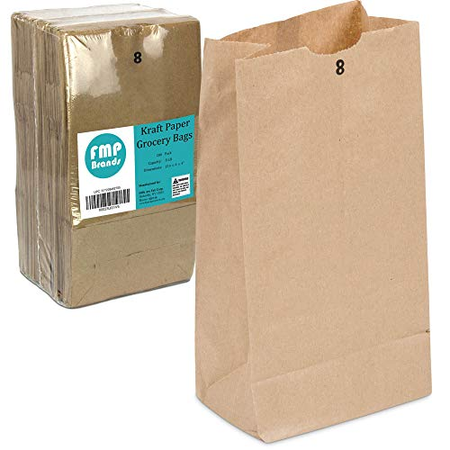 Kraft Paper Bags - Grocery Lunch Retail Shopping Durable Bleached Barrel Sack