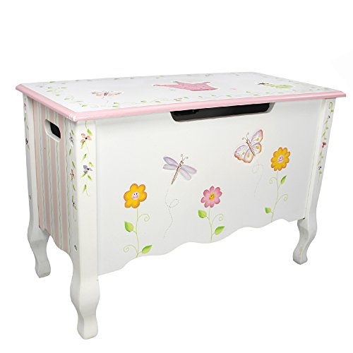 Princess Toy Chest - Fantasy Fields - Princess & Frog Thematic Kids Wooden Toy Chest with Safety Hinges   Imagination Inspiring Hand Crafted & Hand Painted Details   Non-Toxic, Lead Free Water-based Paint