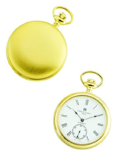 14k Pocket Stainless Steel Watch - Charles-Hubert, Paris Gold-Plated Open Face Mechanical Pocket Watch