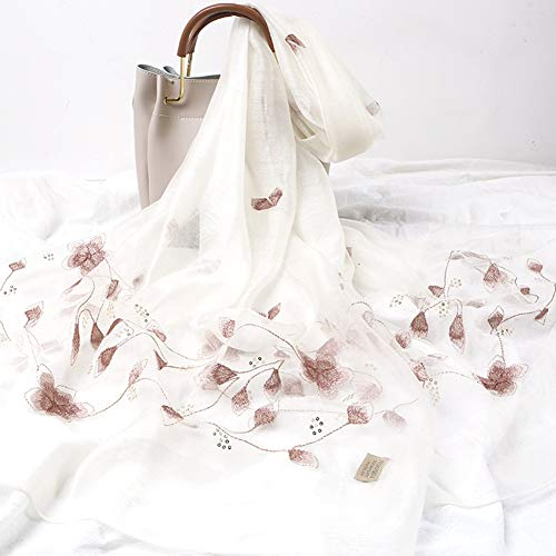 Embroidered Silk Scarf Shawls, 100% Pure Mulberry Silk Scarves Shawls, 72.83''×31.5'' Feeling Hair Silk Shawls Wrap Long Lightweight Silk Floral Headscarf for Women or Girl Gift (Off-White) Dye Silk Scarf Wrap