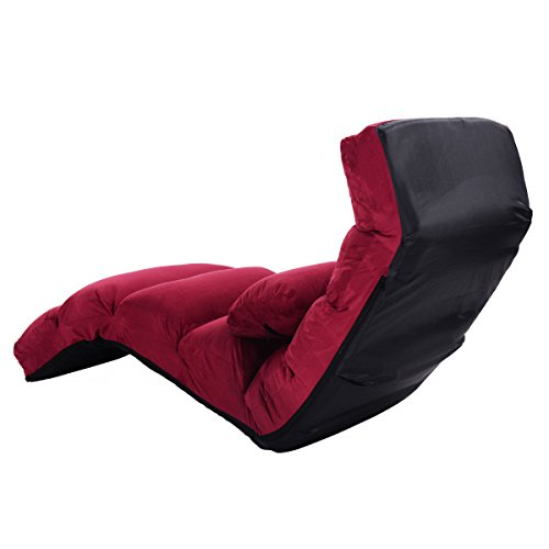 Foldable Lazy Sofa Chair Stylish Couch Bed Lounge Chair Pillow Burgundy New by Allblessings (Image #3)