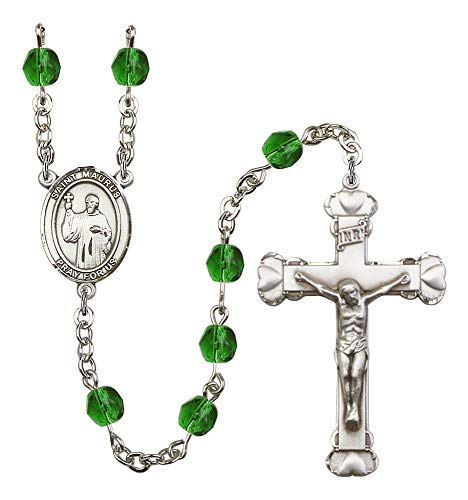 Silver Plate Rosary features 6mm Emerald Fire Polished beads. The Crucifix measures 1 5/8 x 1. The centerpiece features a St. Maurus medal. Patron Saint Cobblers/Cold