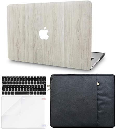 """KECC Laptop Case for MacBook Air 13"""" w/Keyboard Cover + Sleeve + Screen Protector (4 in 1 Bundle) Plastic Hard Shell Case A1466/A1369 (Pine Wood 2)"""