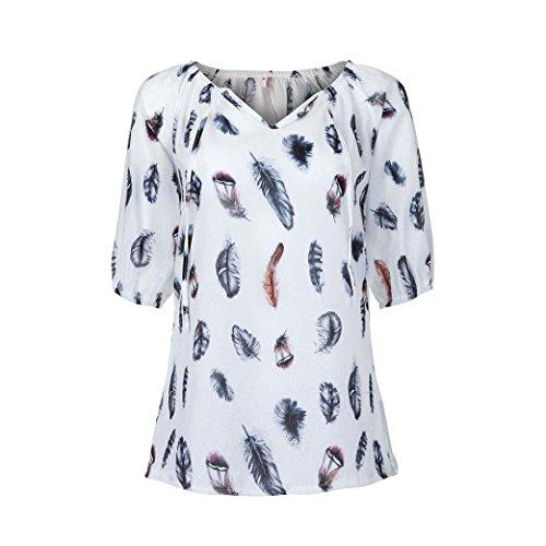 Chiffon Tops,Toimoth Women Plus Size Half Sleeve Feather Print V-Neck Blouse Pullover Shirt (White,XXXL)