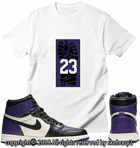 59dfcd41f8 Custom T Shirt Matching Style of Jordan 1 Retro High Court Purple JD 1-23