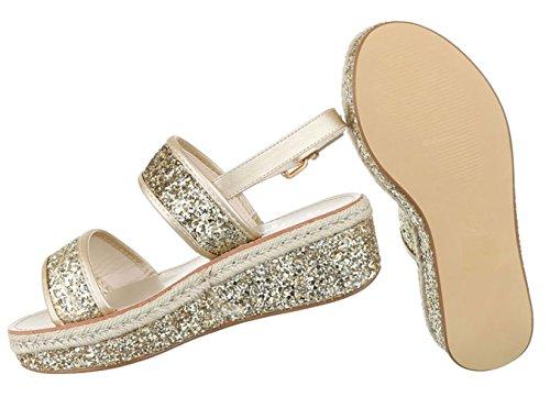 Damen Sandalen Schuhe Sommerschuhe Strandschuhe Plateau Glitter Schwarz Gold silber 36 37 38 39 40 41 Gold