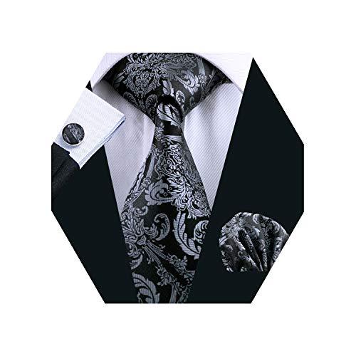 - Barry.Wang Mens Silk Paisley Tie Set Black Silver Necktie Pocket Square Cufflinks Set