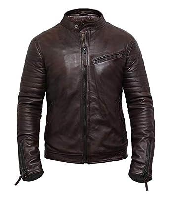 aefc8e6cff3f Brandslock Hommes Veste de motard vintage en cuir véritable de qualité  supérieure marron  Amazon.fr  Vêtements et accessoires