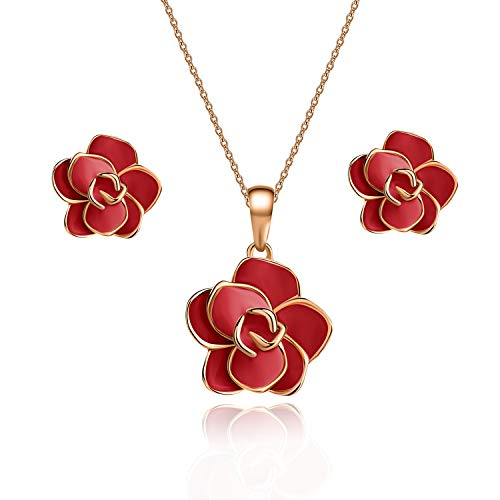 (EVEVIC Rose Flower Necklace Earrings Set for Women Girls 18K Gold Plated Jewelry Sets (Red))
