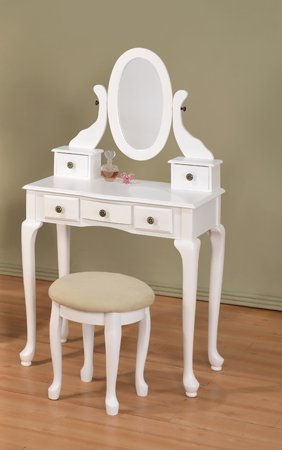 Amazoncom White Vanity Table Set Jewelry Armoire Makeup Desk