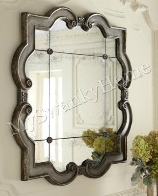 "Large QUATREFOIL Wall Mirror Ornate Silver Leaf Frame 36"" (Mirror Quatrefoil)"