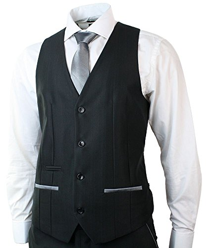 Mens Shiny Black 3 Piece Suit Grey Trim Fitted Wedding Party Prom 1 Button 40
