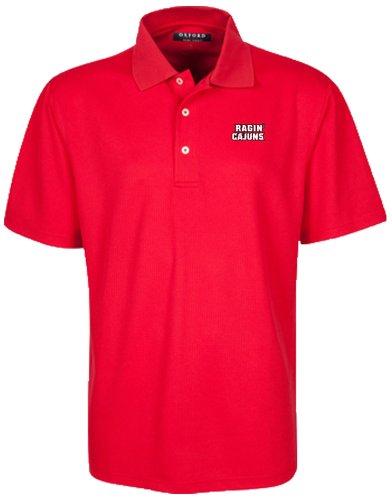 (Oxford NCAA Louisiana Lafayette Ragin' Cajuns Men's Micro-Check Golf Polo, Cardinal, Small)