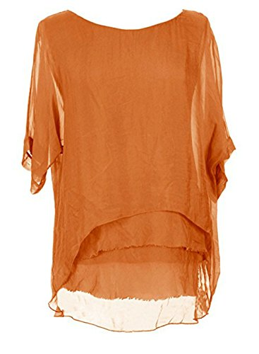 Womens Italian Silk - Sevello Clothing Womens Italian Short Sleeve Frill Silk Tunic Blouse USA 6-12 (Orange)
