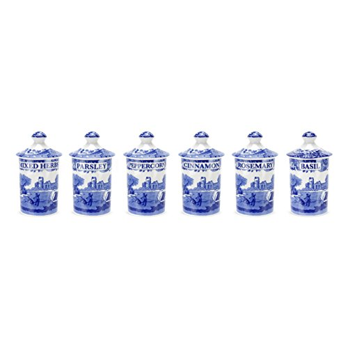 Spode Blue Italian Spice Jar, Set of 6