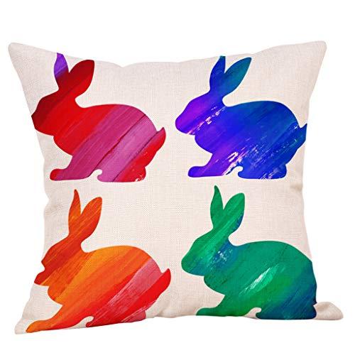 DEATU Easter Sale! Easter Linen Square Rabbit Throw Pillow Case Waist Cushion Cover Decoration Sofa Bed Car Home Decor