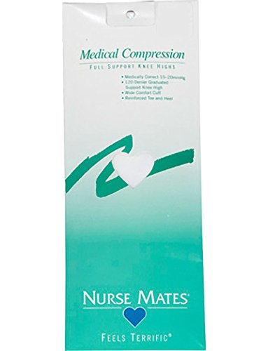 Nurse Mates Women's 15-20 Mmhg Medically Correct Compression Knee High Stockings Hosiery White (Hosiery Support Womens)