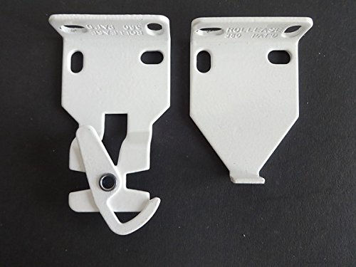 1 PAIR Rollease R3 / R8 Roller Shade Installation Brackets, White (MPN # RB380W) 2  projection