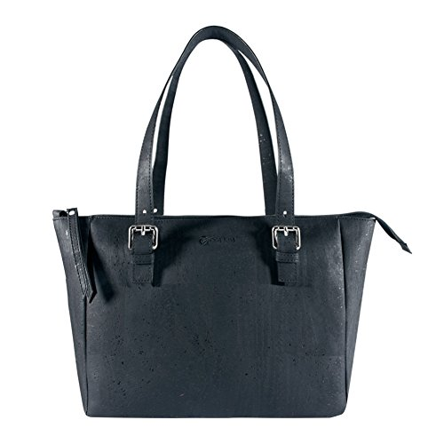 Top Handle Vegan Peta Satchel Natural Cork Black Women Color Handbag Purse Approved 54WSqWwYX