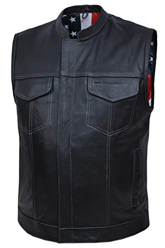 Mens Son of Anarcy Blk Butter Soft Leather Vest USA Flag Paisley Liner Inside (2XL)