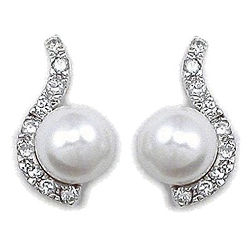 (Pearl Sterling Silver Wave Dangly Drop Earrings With Sparkly CZ Diamond Stones)