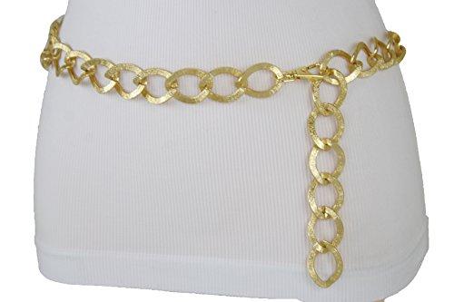 TFJ Women Fashion Belt Gold Metal Thick Chain Chunky Links Hip High Waist XS S M ()