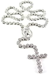 """Iced Out 36"""" Silver Rosary Cluster Simulated Diamond Chain Necklace Cross 14K Finish"""