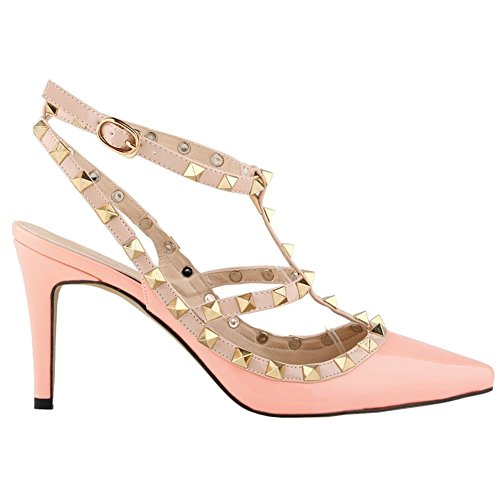 ArcEnCiel Women's Shoes Buckle Studded Pointed Toe High Heel Sandals Pink ttPKbpkzS1