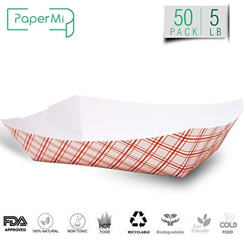 Disposable Paper Food Tray | Red Plaid Kraft | Taco Basket, Hot Dog Boats, French Fry Holders, Serving Boat | for Parties, Fast Food, Snack Eating | USA Made, Recyclable | Bulk 50pc | X Large