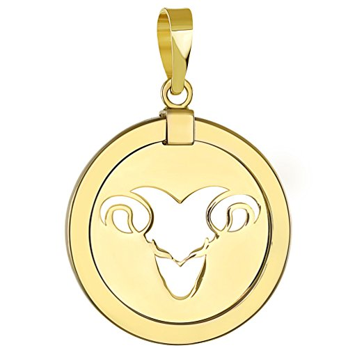 (14K Yellow Gold Reversible Round Ram Aries Zodiac Sign Pendant)