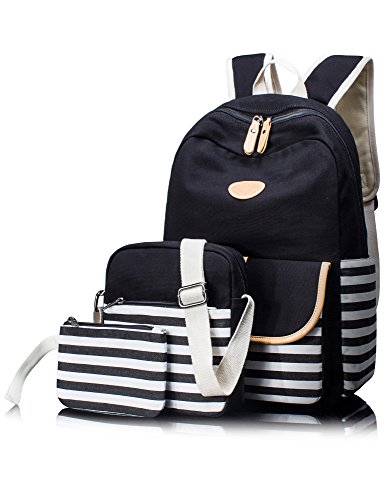 Box Womens School (Leaper 3-in-1 Thickened Canvas School Backpack Shoulder Bag Pencil Case Black)