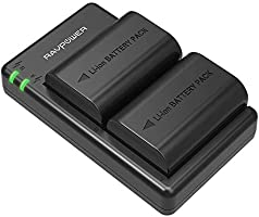 RAVPower LP-E6 LP E6N Battery Charger Rechargeable Battery Pack (2-Pack, Dual USB, 2000mAh) Compatible with Canon 80D...