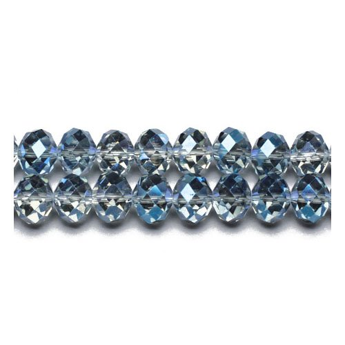 70+ Blue/Grey Czech Crystal Glass 6 x 8mm Faceted Rondelle Beads GC9597-3 (Charming Beads)