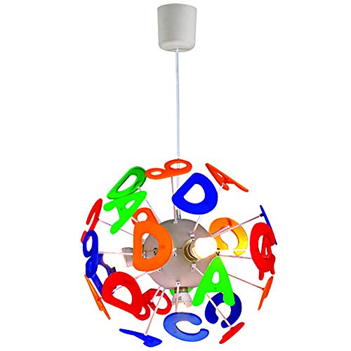 CSDM.AI Children's Bedroom Chandelier, Hanging Light Fun and Educational Round Baby Nursery ABC Alphabet Letters Pendant Light Shade,Numbers