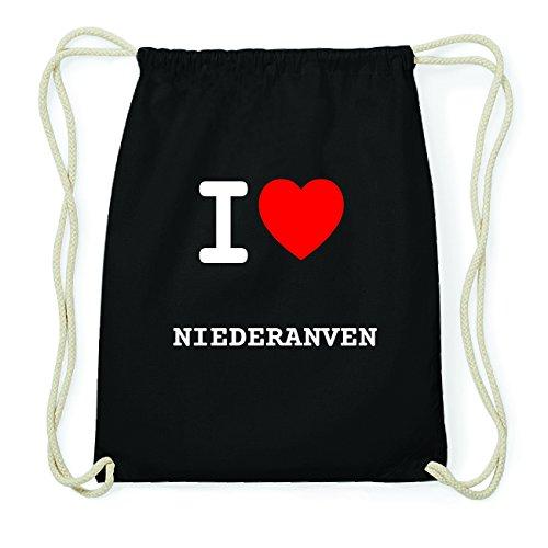 JOllify NIEDERANVEN Hipster Turnbeutel Tasche Rucksack aus Baumwolle - Farbe: schwarz Design: I love- Ich liebe