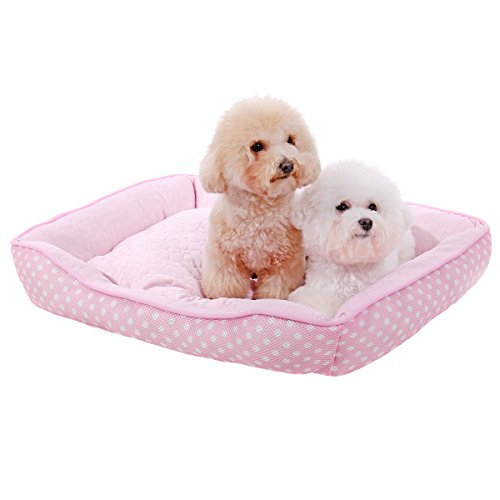PAWZ Road Soft Bed for Dog and Cat, Best Pet Supplies Portable Indoor Summer Pet Pad/Bed Sofa Bed Deluxe Basics Padded Pet Bolster (M, Pink) by PAWZ Road