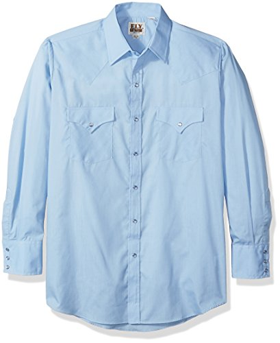 ELY CATTLEMAN Men's Long Sleeve Solid Western Shirt Light Blue Large - Ely Cattleman Mens Western Shirt